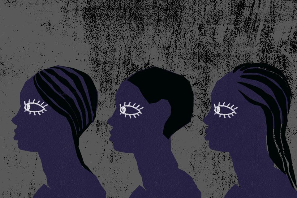 Ilustracja przedstawia trzy postacie patrzące w jedną stronę. Symbolizują współczesne niewolnice